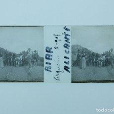 Fotografía antigua: BIAR, ALICANTE - ARGUEÑA - ANTIGUO CRISTAL POSITIVO ESTEREOSCOPICO - AÑO 1907. Lote 130385230