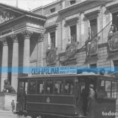 Fotografía antigua: MADRID -POSITIVO EN CRISTAL ESTEREOSCOPICO -192O-CONGRESO DE LOS DIPUTADOS-TRANVIA. Lote 130719549