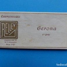 Fotografía antigua: GERONA - VISTAS ESTEREOSCOPICAS DE ESPAÑA - 1ª SERIE, COLECCION Nº 25 - 15 VISTAS RELLEV. Lote 130787776