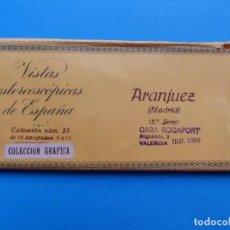 Fotografía antigua: ARANJUEZ, MADRID - VISTAS ESTEREOSCOPICAS DE ESPAÑA - 2ª SERIE, COLECCION Nº 55 - 15 VISTAS RELLEV. Lote 130788852