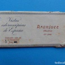 Fotografía antigua: ARANJUEZ, MADRID - VISTAS ESTEREOSCOPICAS DE ESPAÑA - 2ª SERIE, COLECCION Nº 55 - 15 VISTAS RELLEV. Lote 130788932