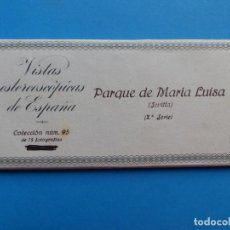 Fotografía antigua: SEVILLA, PARQUE DE - VISTAS ESTEREOSCOPICAS DE ESPAÑA - 2ª SERIE, COLECCION Nº 95 - 15 VISTAS RELLEV. Lote 130789060