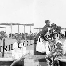 Old photograph - VALENCIA - PLAYA LAS ARENAS - POSITIVO EN CRISTAL ESTEREOSCOPICO - AÑOS 1910-20 - 131900922