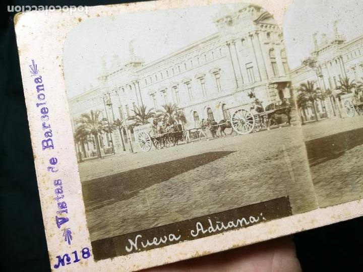 Fotografía antigua: estereoscópica albúmina Nº 18 VISTAS DE BARCELONA NUEVA ADUANA - Foto 3 - 133808770