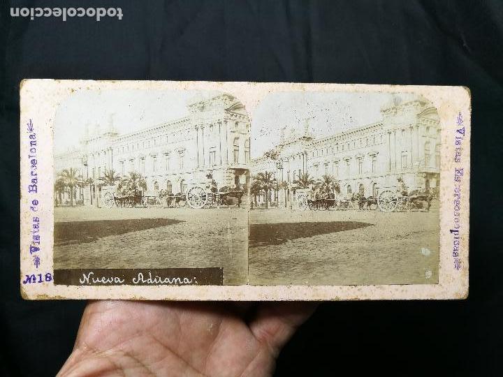 Fotografía antigua: estereoscópica albúmina Nº 18 VISTAS DE BARCELONA NUEVA ADUANA - Foto 4 - 133808770