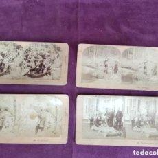Fotografía antigua: S. XIX, LOTE DE 4 ANTIGUAS FOTOGRAFÍAS ESTEREOSCÓPICAS, ESCENAS DE CAZA, DESDE 1888, B. W. KILBURN. Lote 135774942