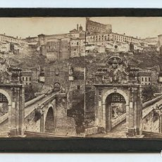 Fotografía antigua: TOLEDO - PUENTE DE ALCÁNTARA, NUM.131. GAUDIN ED. S.XIX. 9X18 CM.. Lote 139770518