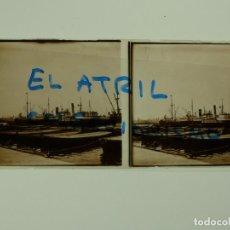Fotografía antigua: VALENCIA - PUERTO - POSITIVO EN CRISTAL ESTEREOSCOPICO - AÑO 1949. Lote 140746058