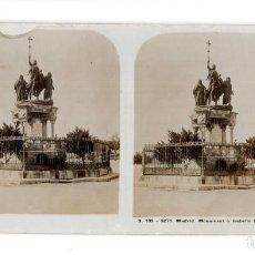 Fotografía antigua: FOTOGRAFÍA ESTEREOSCÓPICA MADRID.- MONUMENT ISABELLE CATHOLIQUE MONUMENTO ISABEL LA CATÓLICA. Lote 140898590
