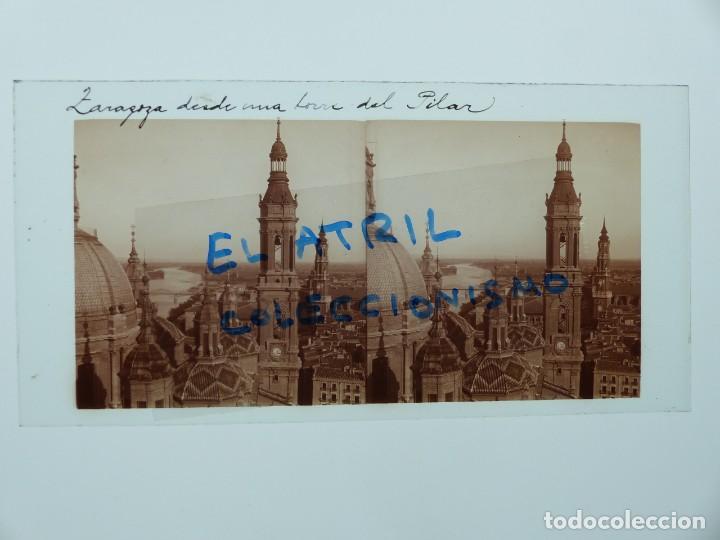 ZARAGOZA - DESDE UNA TORRE DEL PILAR - CRISTAL POSITIVO ESTEREOSCOPICO - AÑOS 1910-20 (Fotografía Antigua - Estereoscópicas)