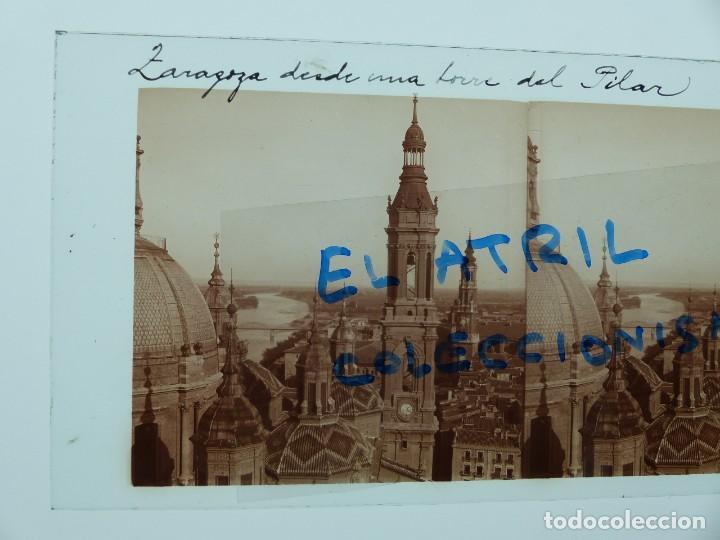 Fotografía antigua: ZARAGOZA - DESDE UNA TORRE DEL PILAR - CRISTAL POSITIVO ESTEREOSCOPICO - AÑOS 1910-20 - Foto 2 - 142156554