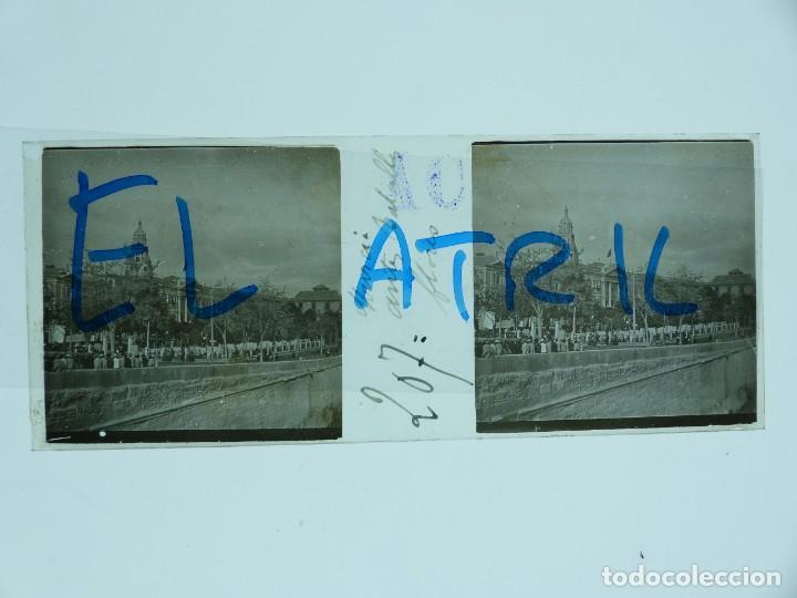 MURCIA - VISTA ANTES BATALLA FLORES - POSITIVO EN CRISTAL ESTEREOSCOPICO - AÑOS 1903 (Fotografía Antigua - Estereoscópicas)