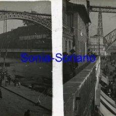 Fotografía antigua: OPORTO, PORTUGAL. PUENTE DE DON LUIS I- CRISTAL POSITIVO ESTEREOSCOPICO PRINCIPIO DE 1900 - 20. Lote 143753330