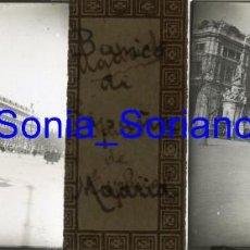 Fotografía antigua: MADRID, BANCO DE ESPAÑA DIA BODA ALFONSO XIII. BODAS REALES - CRISTAL POSITIVO ESTEREO. 1906. Lote 143777986