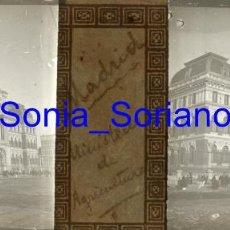 Fotografía antigua: MADRID, MINISTERIO AGRICULTURA DIA BODA ALFONSO XIII. BODAS REALES - CRISTAL POSITIVO ESTEREO. 1906. Lote 143778130