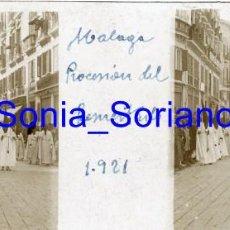 Fotografía antigua: MALAGA, PROCESION DEL RESUCITADO - CRISTAL ESTEREOSCOPICO - AÑO 1921. Lote 143916698