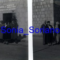 Fotografía antigua: MONTSERRAT BARCELONA ENTRADA SANTUARIO HOTEL DEL MONASTERIO - CRISTAL ESTEREOSCOPICO PRINCIPIO 1900 . Lote 143925598