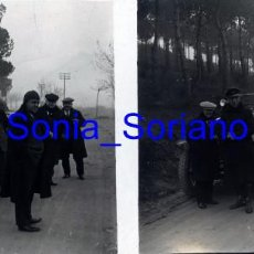 Fotografía antigua: MONTSERRAT, BARCELONA, RUTA SAN JERONIMO COCHE ANTIGUO - CRISTAL ESTEREOSCOPICO - PRINCIPIO 1900. Lote 143926858