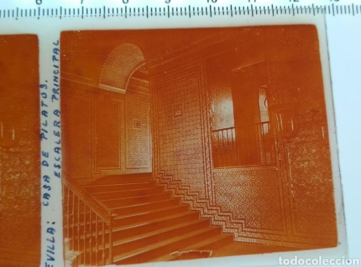 Fotografía antigua: Cristal estereoscopico positivo Sevilla Casa de Pilatos escalera principal aprox de 1920 - Foto 2 - 144096116