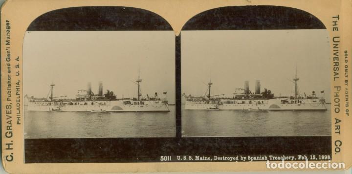 GUERRA DE CUBA 1898. ACORAZADO MAINE. AÑO 1898. (Fotografía Antigua - Estereoscópicas)