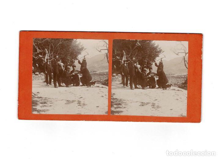 ESTEREOSCÓPICA.- GRUPO DE HOMBRES .- ( ESTUDIO FOTOGRÁFICO.- E. JORDÁ BLANES ALCOY, ALICANTE) (Fotografía Antigua - Estereoscópicas)