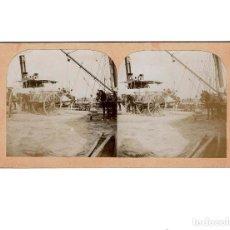 Old photograph - ESTEREOSCÓPICA.-VALENCIA.- DESCARGANDO UN BUQUE EN EL PUERTO.(E.JORDÁ BLANES ALCOY, ALICANTE) - 146681586