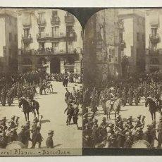Fotografía antigua: ENTIERRO DEL GENERAL RAMON BLANCO. BARCELONA. VISTA ESTEREOSCÓPICA.. Lote 147376750