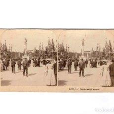Fotografía antigua: ESTEREOSCÓPICA.- BARCELONA.- PLAZA DE CATALUÑA ADORNADA, PUBLICADAS POR T. M. . Lote 147700834
