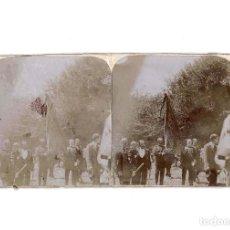 Fotografía antigua: ESTEREOSCÓPICA.- BURGOS.- PROCESIÓN DEL CURPILLO EN HUELGAS. PENDÓN DE NAVAS DE TOLOSA. Lote 148006530