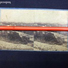 Fotografía antigua: ZARAGOZA. VISTA GENERAL, DESDE CABEZO CORTADO. LAURENT VISTA ESTEREOSCÓPICA, ALBUMINAS. . Nº 156. Lote 149216374