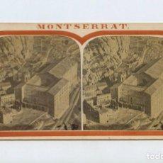 Fotografía antigua: MONTSERRAT - VISTA GENERAL , 1860 APROX. ALBÚMINA ESTEREO 8,5X17 CM.. Lote 150792166