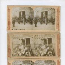 Fotografía antigua: BARCELONA, PROCESIÓN DEL CORPUS. 1900 APROX. 8 ALBÚMINAS ESTEREO 8,5X17,5 CM. VER FOTOS. Lote 151835510