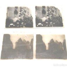 Fotografía antigua: 2 FOTOGRAFIAS CRISTAL ESTEREOSCOPICA CASTELLERS EN TARRAGONA AÑOS 50. MED. 13 X 6 CM. Lote 152488286