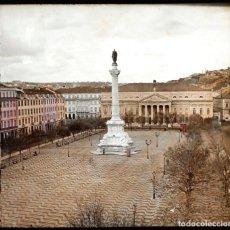 Fotografía antigua: PORTUGAL. LISBOA, PLAZA SAN PEDRO, CRISTAL POSITIVO ESTEREO ILUMINADO A MANO 8,4X17CM. S. XIX. Lote 154704246