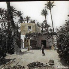Fotografía antigua: ALICANTE PROBABLEMENTE. CRISTAL POSITIVO ESTEREO ILUMINADO A MANO 8,4X17CM. S. XIX. Lote 154705118