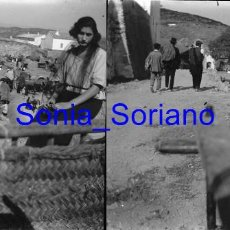 Fotografía antigua: CUEVA SANTA O MONTAN? CASTELLON - ROMERIA - CRISTAL NEGATIVO ESTEREOSCOPICO - AÑOS 10 -20. Lote 154786658