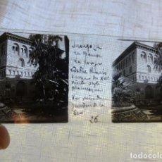 Fotografía antigua: ZARAGOZA LA LONJA PLACA ESTEREOSCOPICA EN CRISTAL 4 X 10,5 CMTS HACIA 1900. Lote 155686002
