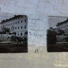 Fotografía antigua: ZARAGOZA ASPECTO URBANO PLACA ESTEREOSCOPICA EN CRISTAL 4 X 10,5 CMTS HACIA 1900. Lote 155686158