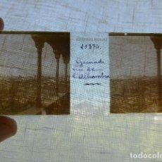 Fotografía antigua: GRANADA VISTA DESDE LA ALHAMBRA PLACA ESTEREOSCOPICA EN CRISTAL 4 X 10,5 CMTS HACIA 1900. Lote 155686686