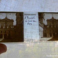 Fotografía antigua: EL ESCORIAL MADRID LA BASILICA PLACA ESTEREOSCOPICA EN CRISTAL 4 X 10,5 CMTS HACIA 1900. Lote 155686882