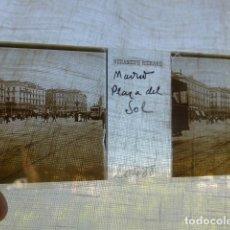Fotografía antigua: MADRID PUERTA DEL SOL PLACA ESTEREOSCOPICA EN CRISTAL 4 X 10,5 CMTS HACIA 1900. Lote 155687426