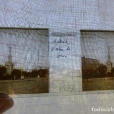 Fotografía antigua: MADRID PLAZA DE COLON PLACA ESTEREOSCOPICA EN CRISTAL 4 X 10,5 CMTS HACIA 1900. Lote 155687722