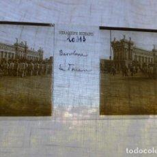 Fotografía antigua: BARCELONA LA ADUANA PLACA ESTEREOSCOPICA EN CRISTAL 4 X 10,5 CMTS HACIA 1900. Lote 155687850