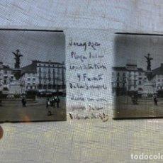 Fotografía antigua: ZARAGOZA PLAZA DE LA CONSTITUCION PLACA ESTEREOSCOPICA EN CRISTAL 4 X 10,5 CMTS HACIA 1900. Lote 155688402