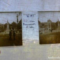 Fotografía antigua: BARCELONA PASEO DE COLON PLACA ESTEREOSCOPICA EN CRISTAL 4 X 10,5 CMTS HACIA 1900. Lote 155688602