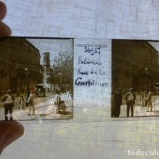 Fotografía antigua: PALMA DE MALLORCA PLAZA DE LA CONSTITUCION PLACA ESTEREOSCOPICA EN CRISTAL 4 X 10,5 CMTS HACIA 1900. Lote 155688730