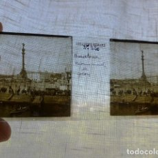 Fotografía antigua: BARCELONA MONUMENTO DE COLON PLACA ESTEREOSCOPICA EN CRISTAL 4 X 10,5 CMTS HACIA 1900. Lote 155688834