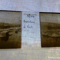 Fotografía antigua: BARCELONA EL PUERTO PLACA ESTEREOSCOPICA EN CRISTAL 4 X 10,5 CMTS HACIA 1900. Lote 155688918
