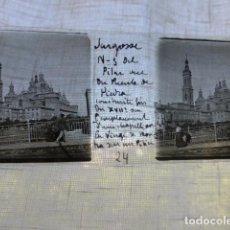 Fotografía antigua: ZARAGOZA EL PILAR DESDE EL PUENTE DE PIEDRA PLACA ESTEREOSCOPICA EN CRISTAL 4 X 10,5 CMTS HACIA 1900. Lote 155689454