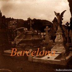 Fotografía antigua: CEMENTERIO - BARCELONA - MODERNISMO - POSITIVO DE VIDRIO - 1910'S . Lote 155718490